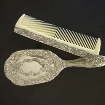 2 Piece, Silver Plated Brush and Comb, Vanity Set