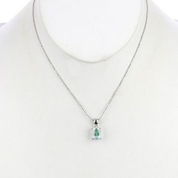 Green Emerald Cut Cubic Zirconia Necklace