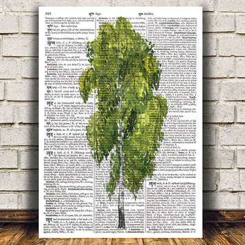Watercolor print Birch tree poster Tree print Dictionary art RTA1283