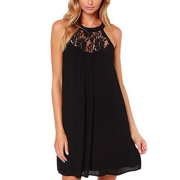 Summer Casual Loose Black Chiffon Dress Women Fashion O-Neck Lace Crochet Sleeveless Halter Mini Beach Party Dresses #Ju