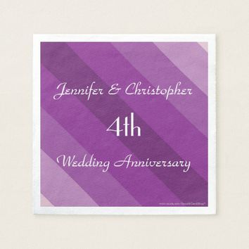 Purple Striped Napkins, 4th Wedding Anniversary Napkin