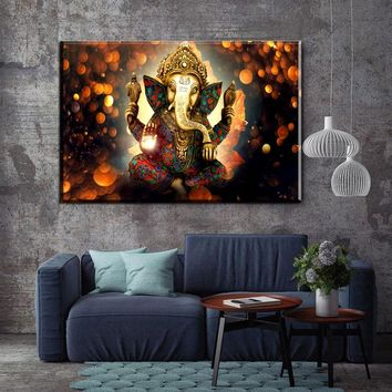 HD Print Single canvas wall art Shiva India Lord Elephant Religion Buddha Painting home decor wall art picture for living room