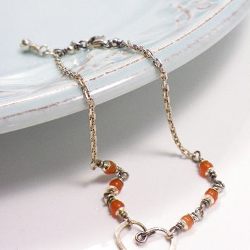 Handmade wire wrapped sterling silver ANKLET agate dainty anklet delicate jewelry chain anklet agate jewelry