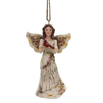 Holiday Ornaments BIRCH ANGEL HOLDING CARDINAL Woods Christmas C7930 Brunette