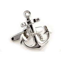Cufflinks Silver Anchor Navy Nautical Ship Navy Cuff Links Sailor Yacht USN MRCUFF