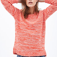 FOREVER 21 Marled Crew Neck Sweater Orange/Cream