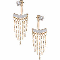 Glitter and Chain Drop Earrings - Silver