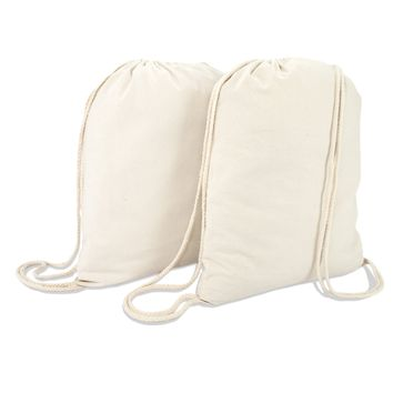 DALIX Canvas Drawstring Bag String Backpack Gym Mens Womens 2 Pack