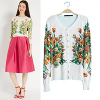 Floral Knitted Long Sleeve Cardigan