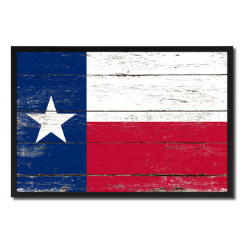 Texas State Flag Vintage Canvas Print with Black Picture Frame Home DecorWall Art Collectible Decoration Artwork Gifts