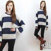 Vintage 90s Navy + White Striped Oversized Sweater S M L Oversized Knit Striped Pullover Striped Jumper Striped Sweater Rugby Sweater