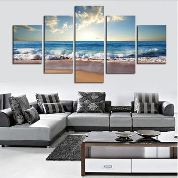 Art Oil Painting (No Frame)5 Piece The Sea Beach modern