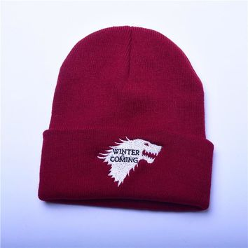 Beanie Hat Knitted Women Caps Game Of Thrones Warm Knitted Beanie Skullies House Of Stark Winter Is Coming Platinum Cap Wolf Hat