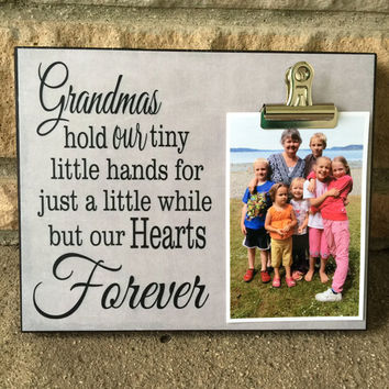 Grandparents Picture Frame Gift, Grandmas Hold Our Tiny Little Hands, Grandparents Gift, 8x10 Photo Board With Photo Clip