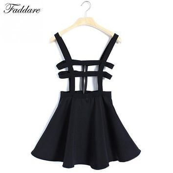 Back Zipper Hollow Out Skirt Fashion Bandage Suspender Skirts Women Girl Ruffles Skater Pleated Short Braces Mini Skater