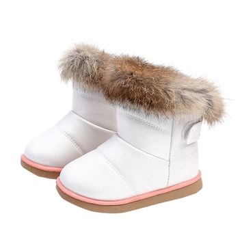 Cotton Winter Girls Leather Shoes