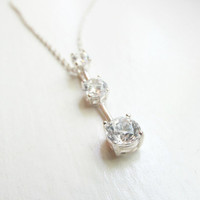 2 ct CZ Necklace on Sterling Silver, Sterling Silver Necklace, CZ Necklace, Vintage Necklace
