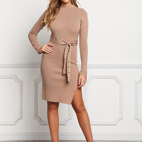 Coffee Side Slit Belted Bodycon Dress
