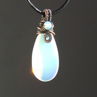 Opalite necklace, white glass pendant, copper rustic jewelry, copper necklace, christmas gift