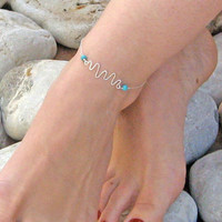 Handmade Charm Anklet, Wavy Ankle Bracelet, 925 Sterling Silver Anklet, Turquoise Anklet, Beach Foot Jewelry, Bridesmaid Gift, Gift Under 25