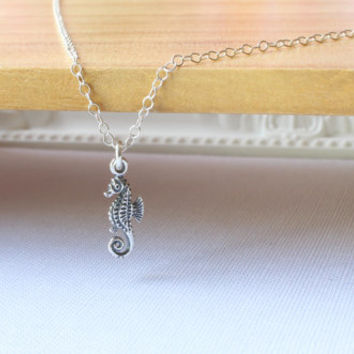 Tiny Seahorse Necklace, Sterling Silver Tiny Seahorse Necklace, Silver Seahorse necklace, Seahorse necklace, Beach Wedding