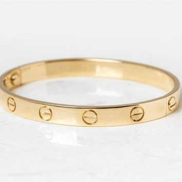 CARTIER 18K YELLOW GOLD LOVE BANGLE SIZE 17