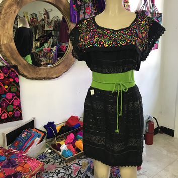 Oaxaca Black Short Loomed Dress with Multicolor Embroidery