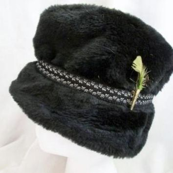 Vtg UNITED HATTERS CAP & MILLINERY BUCKET Feather Fur Hat S BLACK Mens Womens