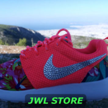 wmns custom nike roshe run shoes with fabric floral coral color sneakers blinged with swarovski rhinestones