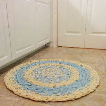Light Blue Rug, Braided Rug, Upcycled Rug, Round Rug, Round Braided Rug, Handmade Rug, Recycled Rug, Rag Rug, Upcycled Home Decor