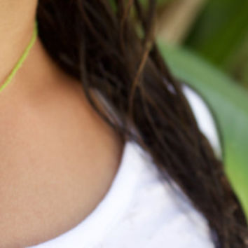 Green Choker with a Golden Turtle Charm