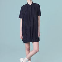 Pleated Shirt Dress Navy