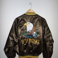 New Year Sale Vintage WYOMING Dunbrooke Made In USA EAGLE Embroidery Sukajan Stitch Souvenir Bomber Jacket