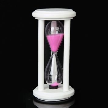 Wooden Frame Pink With White Sand Timer Hourglass