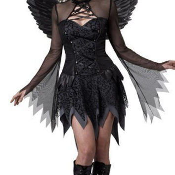 Free shipping Black Dark Devil Fallen Angel Costume Sexy Adult Cosplay Exotic Apparel Halloween Costume for Women