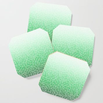 Faded green and white swirls doodles Coaster by savousepate