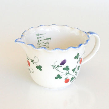 Vintage Kitchen Measuring Cup Hand Painted Pottery COTE BASQUE France for MANN