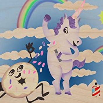 'Donut Unicorn Shaving in Clouds' Funny Mystical Cartoon Artwork - Plywood Wood Print Poster Wall Art