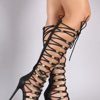 Strappy Lace-Up Hardware Gladiator Heels