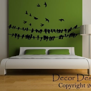 Birds Around A Wire Wall Decal