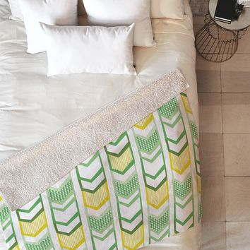 Heather Dutton Right Direction Lemon Lime Fleece Throw Blanket