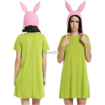 Licensed cool Licensed Bobs Burgers Louise Belcher Cosplay Costume Dress & Bunny Ears Hat 4-10