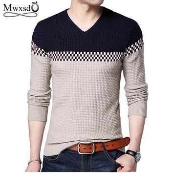 Mwxsd 2017 Winter New Arrivals Thick Warm Sweaters V-Neck Wool Sweater Men Brand-Clothing Knitted Cashmere Pullover Men 66203