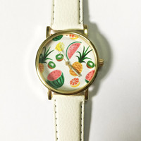 Tropical Fruits Pineapple Watermelon Kiwi Lemon Watch, Vintage Style Leather Watch, Women Watches, Boyfriend Watch,