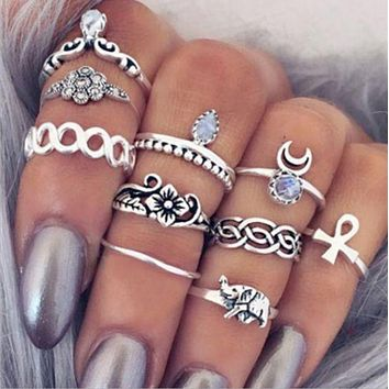 DCCKJ1A 10Pcs Vintage Boho & Elephant Ring Set + Gift Box +Free Christmas Gift -Random Necklace