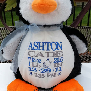 Personalized Penguin Baby Gift Embroidered  Stuffed Animal Birth Announcement by Sewbiz Embroidery Too