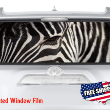 Zebra Head Eye Horse Stripes Full Color Print Perforated Film Truck SUV Back Window Sticker Perf020