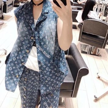 Louis Vuitton Casual  Pattern  Lapel Sleeveless Edgy Fashion Two-Piece Suit Clothes