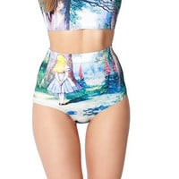 Alice in Wonderland Chesire Cat Galaxy Print Crop Top & High Waist Bottom Two Piece Swimsuit Set