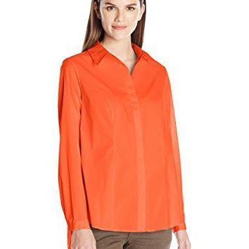 NY Collection Womens Long Sleeve Tunic Button Down Blouse